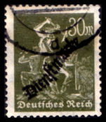 Germany 1923 30pf Official fine used forged cancel cat £48 as genuine handstamped on reverse Stempelfalschung Infla.