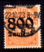 Germany 1923 800T Official fine used Forged Cancel Cat £425 As GenuineHandstamped On Reverse Stempelfalschung Infla.