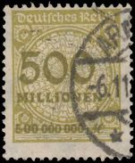 Germany 1923 500m sage-green fine used.