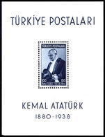 Turkey 1940 Death Of Ataturk Souvenir Sheet unmounted mint. (tiny gum skip)