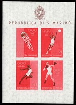 San Marino 1960 Olympic  souvenir sheet unmounted mint.