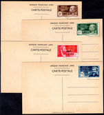 French Equatorial Africa 1942 Arrival of General de Gaulle correctly affixed to set of 4 postcards picturing de Gaulle unused.