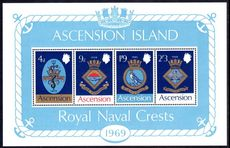 Ascension 1969 Naval Crests souvenir sheet unmounted mint.
