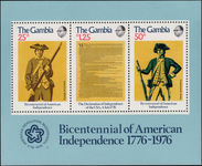 Gambia 1976 American Revolution souvenir sheet unmounted mint.