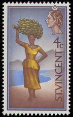 St Vincent 1968 4c Woman with bananas wmk 12 sideways unmounted mint.