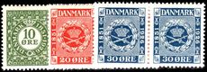 Denmark 1926 Stamp Anniversary pairs fine lightly mounted mint.