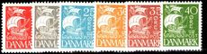 Denmark 1927 Caravel set solid background lightly mounted mint.