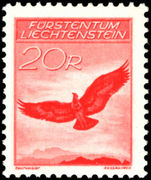Liechtenstein 1934-36 20rp Golden Eagle GRILLED GUM fine unmounted mint.