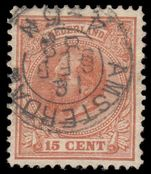 Netherlands 1872-91 15c orange-brown perf 12½ fine used.