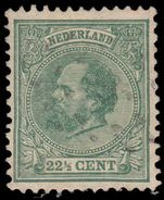 Netherlands 1872-91 22½c myrtle-green rare shade fine used.