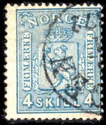 Norway 1867-68 4sk greenish blue fine used.