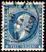 Norway 1856-60 4sk greenish-blue fine used.