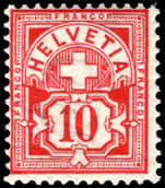 Switzerland 1882-99 10c carmine granite paper wmk 8 unmounted mint.