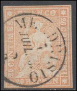 Switzerland 1854-62 20r orange touching on two margins signed Rellstab BPP fine used.