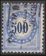 Switzerland 1882 Postage Due 500c blue frame type II inverted granite paper fine used.