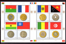 Geneva 2007 Coins and Flags (2nd series) souvenir sheet unmounted mint.