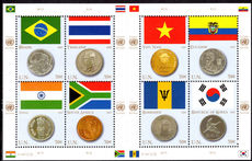 New York 2007 Coins and Flags (2nd series) souvenir sheet unmounted mint.