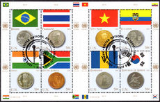 New York 2007 Coins and Flags (2nd series) souvenir sheet fine used.