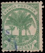 Samoa 1887 1d yellow-green wmk 4a perf 12x11½ fine used with blue cancel.