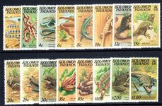 Solomon Islands 1979-83 Reptiles set with no imprint unmounted mint.
