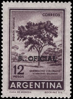 Argentina 1961-69 12p Red Querbracho official unmounted mint.
