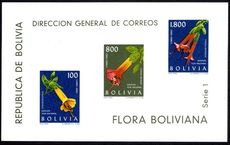 Bolivia 1962 Flowers souvenir sheet unmounted mint.