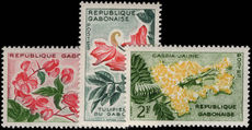 Gabon 1961 flowers low values unmounted mint.