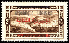 Lebanon 1928 2p sepia black and red overprints lightly mounted mint.