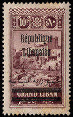 Lebanon 1928 10p plum lightly mounted mint.