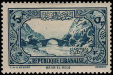 Lebanon 1930-36 5p Nahr el-Kalb lightly mounted mint.