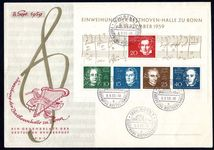 West Germany 1959 Beethoven souvenir sheet first day cover.