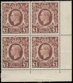 1939-49 £1 corner marginal block of 4 unmounted mint.