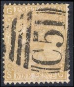 1867 9d Straw fine used with St Thomas C51 postmark.