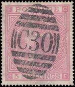 1867-74 5s rose plate 2 fine used in Chile with fine strike of C30 Valpariso postmark.