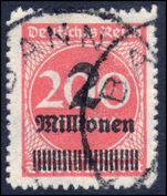 Third Reich 1923 2M on 200M bright rose zigzag roulette fine used.