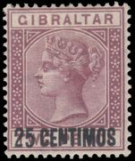 Gibraltar 1889 25c on 2d variety broken N mint hinged.