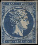 Greece 1872-75 20l blue Athens Print on thin transparent paper fine unused with part own gum.