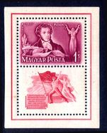 Hungary 1949 Pushkin souvenir sheet imperf unmounted mint.