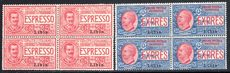 Libya 1915 Express Letters pair in unmounted mint blocks of four.