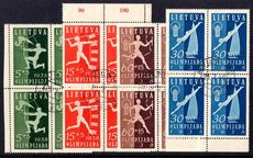 Lithuania 1938 National Olympiad Fund in fine used blocks of 4.