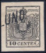Lombardy & Venetia 1854-57 10c grey-black type B machine made paper very fine used 4 margins.