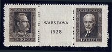 Poland 1928 Warsaw Philatelic exhibition pair from souvenir sheet unmounted mint.