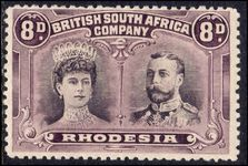 Rhodesia 1910-13 8d dull purple and purple perf 14 fine mint hinged.