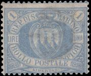 San Marino 1894 1 lira pale ultramarine fine mint signed Diena and with Diena certificate.