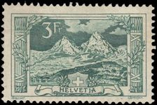 Switzerland 1914-18 3fr deep blue-green The Myth Mountain fine lightly mounted mint.
