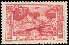 Switzerland 1914-18 3fr rose-carmine The Myth Mountain fine lightly mounted mint.