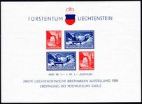 Liechtenstein 1936 Philatelic Exhibition souvenir sheet unmounted mint.