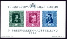 Liechtenstein 1949 Vaduz Philatelic Exhibition souvenir sheet unmounted mint.