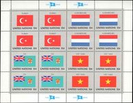 New York 1980 Flag sheet Turkey Fiji Luxembourg Vietnam unmounted mint.