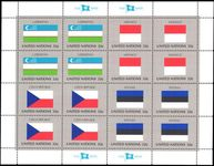 New York 1998 Flag sheet Uzbekistan Monaco Czech Republic Estonia unmounted mint.
